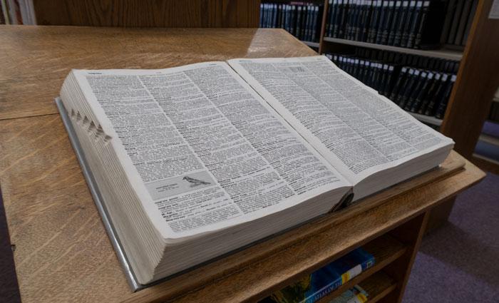 big book diagonal view on table