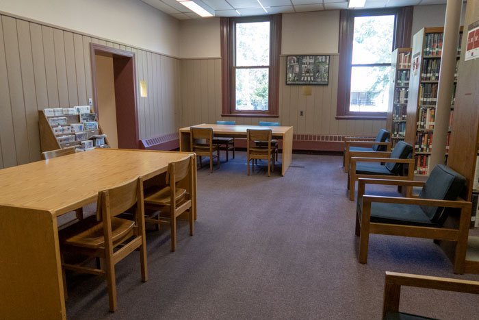 library room with desks, chairs