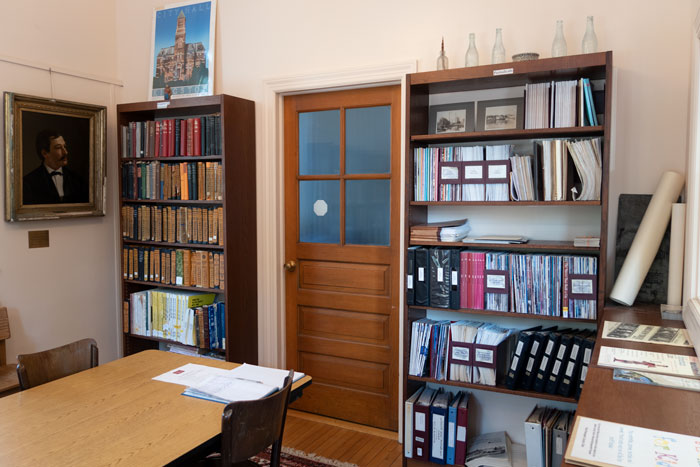 library room with bookshelf, table