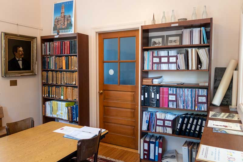library room with bookcase